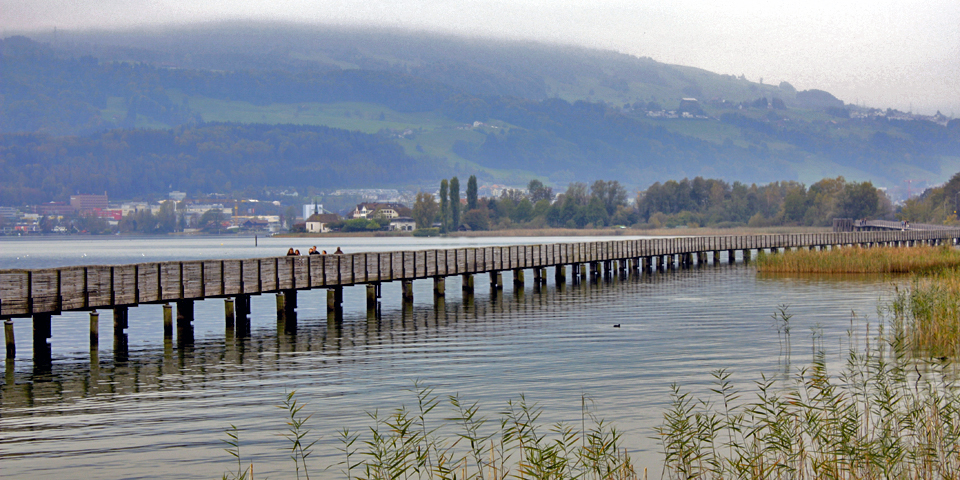 bridge to Hurden, Rapperswil, Switzerland