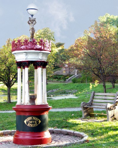 The mineral waters of Saratoga Springs may be sampled free at Saratoga Race Course, Saratoga Spa State Park, the Old Iron Spring in Ballston Spa, and here in Congress Park.