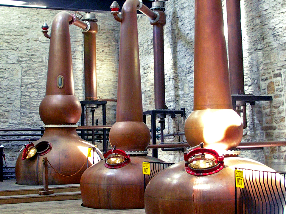 Three copper pot stills are used to make Woodford Reserve, official bourbon of the Kentucky Derby.