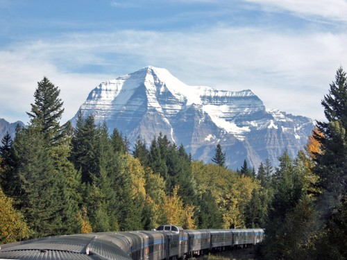 Mount Robson as seen from the observation dome of VIS Rail's Canadian, British Columbia, Canada