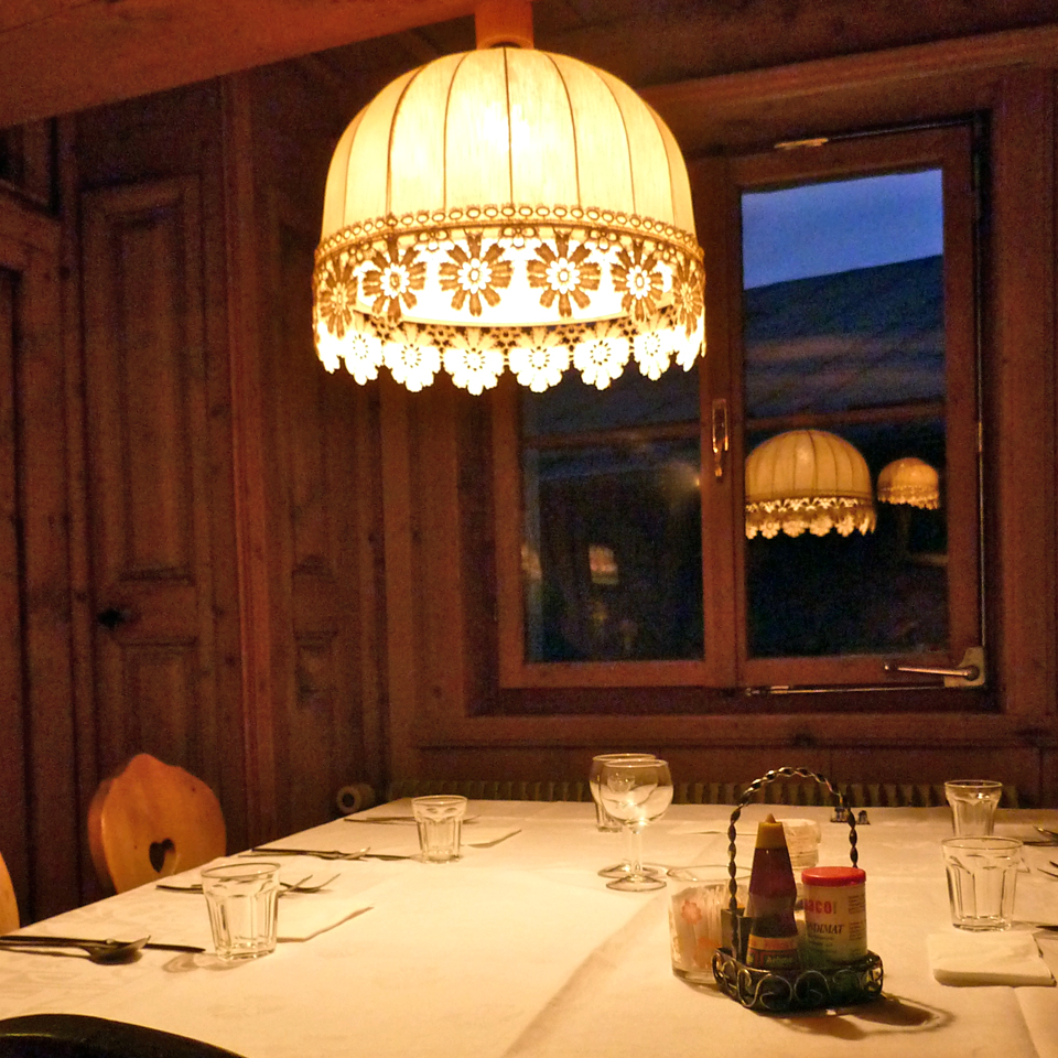 dining room of the Hotel Chalavaina, Val Müstair, Switzerland