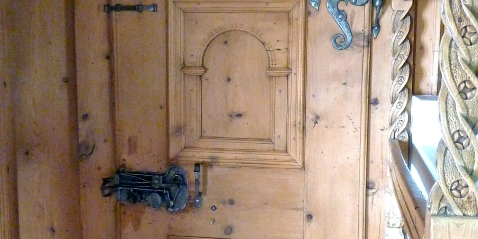 door to the room of an Abbess, Convent of St. John, Val Müstair, Switzerland