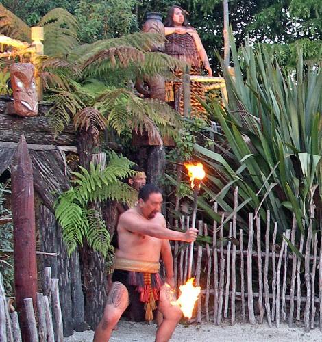 Maori warrior, Tamaki Maori Village, New Zealand