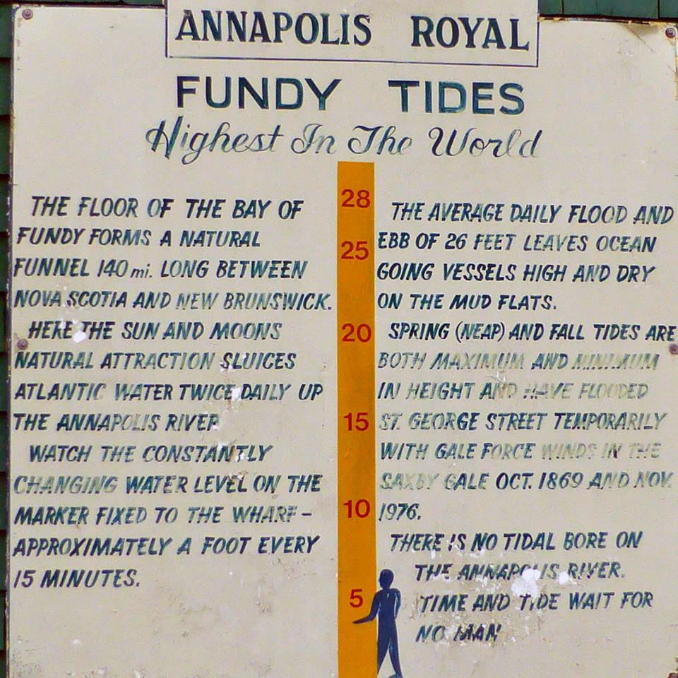 Bay of Fundy chart, Annapolis Royal, Nova Scotia