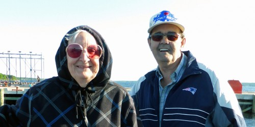 Maggie and Laurie Horton of Sticks and Stones folk art aboard the Brown Eyed Girl, Shelburne, Nova Scotia