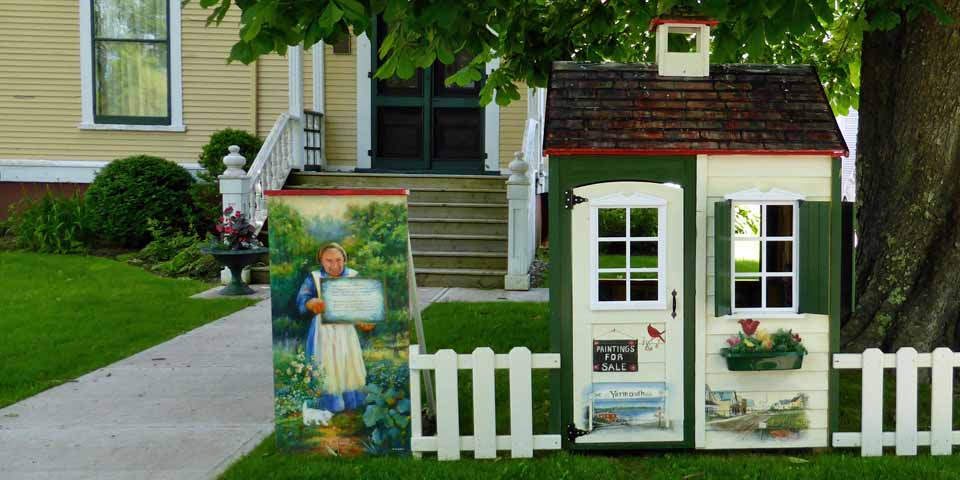 """""""Maudified"""" House in front of the Pelton-Fuller House, Yarmouth, Nova Scotia"""
