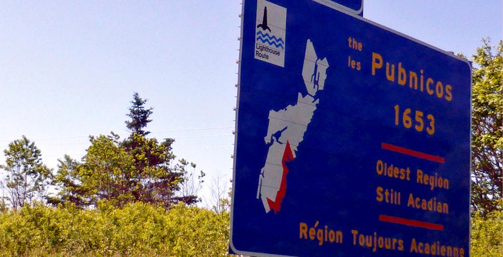 The Pubnicos sign, Nova Scotia