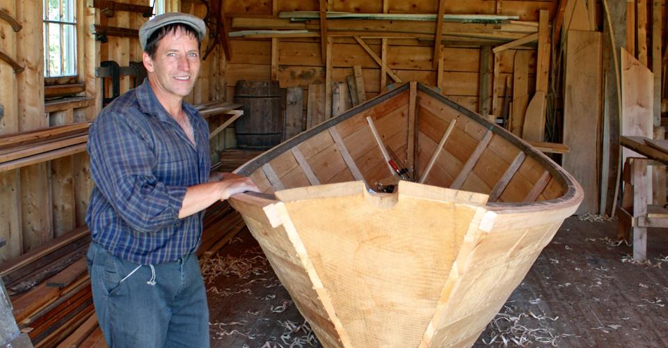 Shelburne dory at Le Village historique acadien de la Nouvelle Ecosse (Historical Acadian Village of Nova Scotia, Nova Scotia