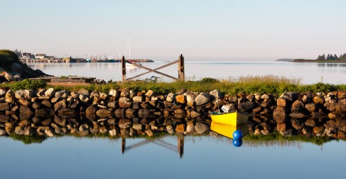 morning reflection on water at Ye Olde Argyler, Nova Scotia