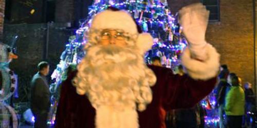Santa and the holiday tree, Gloucester, Massachusetts