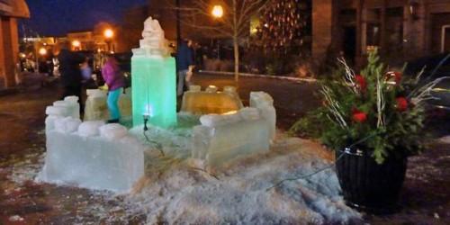 ice sculpture by night, Gloucester, Massachusetts