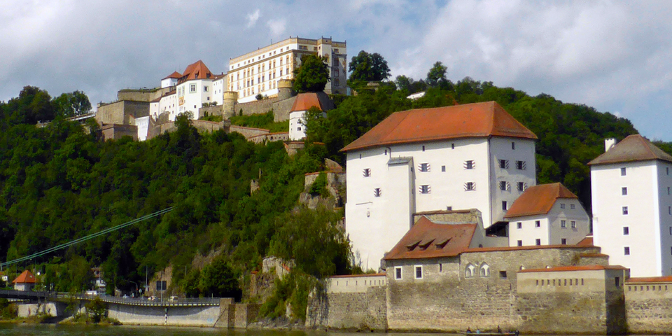 Passau's Veste Oberhaus, a fortress built in 1219 for the Bisop of Passau is now the site of a museum, youth hostel, restaurant, and open-air theater