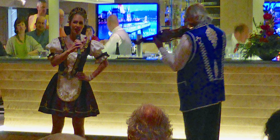 Hungarian dancer and Gypsy violinist aboard Viking River Cruises Viking Njord