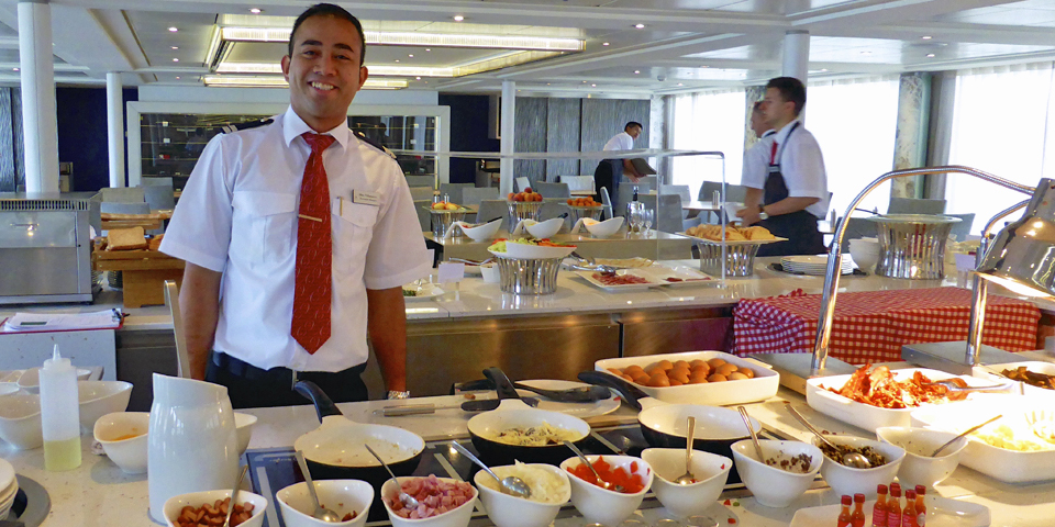 omelet station of the breakfast buffet aboard Viking River Cruises' Viking Njord
