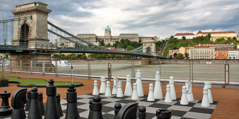 chess board on the Sun Deck of Viking River Cruises' Viking Njord, docked in Budapest, Hungary