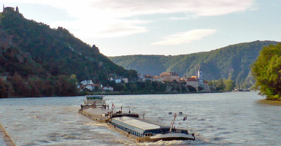 view of the Danube's Wachau Valley from the Viking Njord