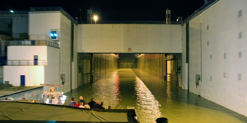 approaching a lock of the Rhine-Main-Danube Canal by night aboard the Viking Njord