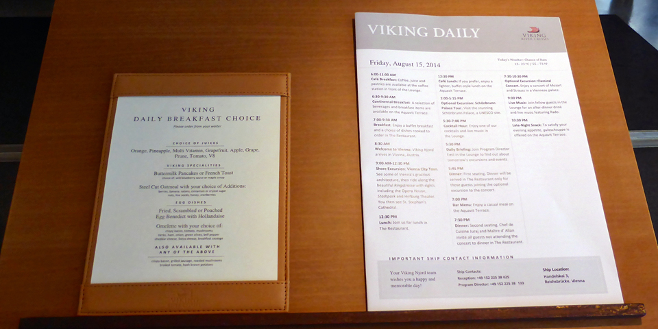 breakfast menu and a copy of the Viking Daily