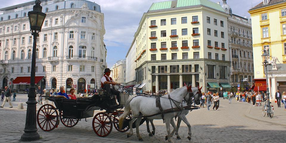 flaker (horse-drawn carriage) in Michaelerplatz, Vienna
