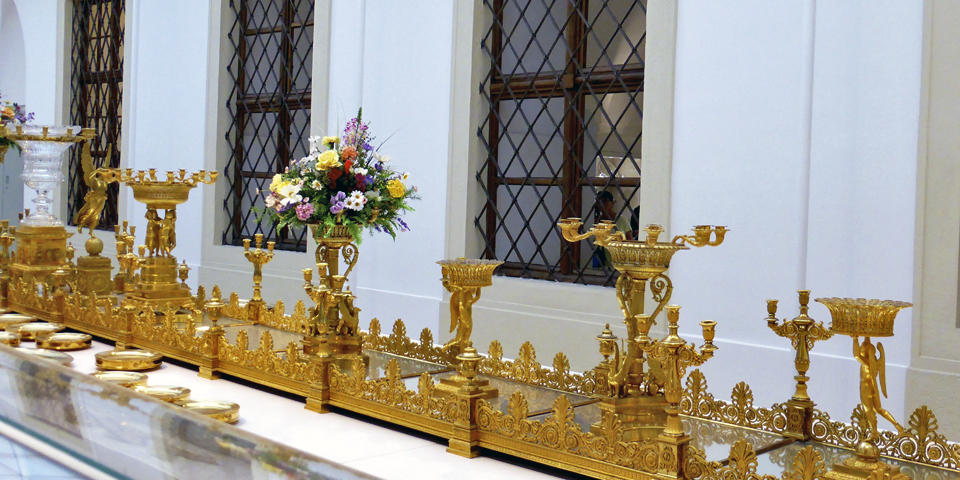100' long gilded Milan centerpiece created by Manfredi in 1838, Imperial Silver Collection, Vienna