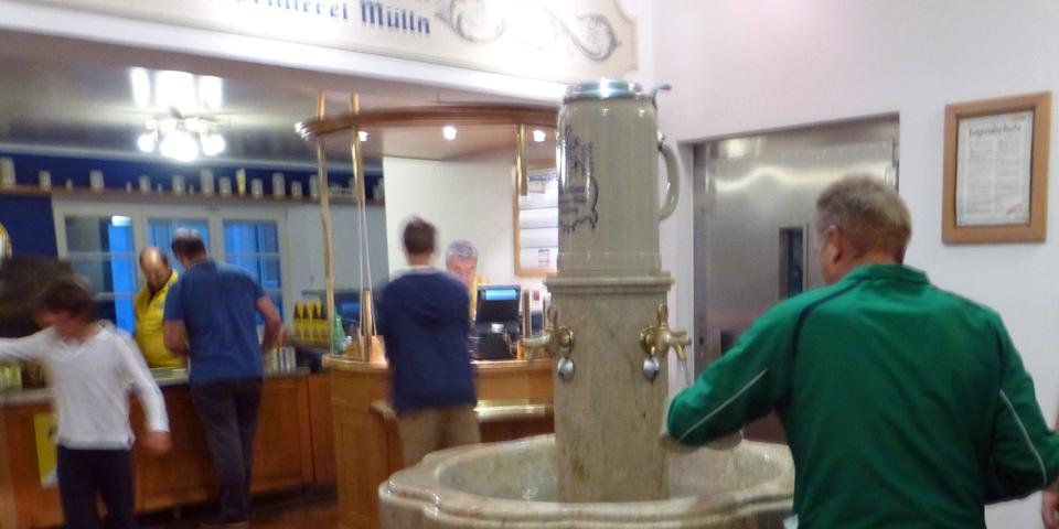 fountain for rinsing steins, Augustiner Brewery, Salzburg, Austria