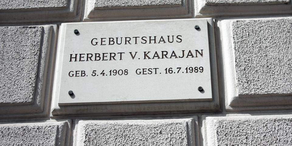plaque denoting Karajan birthplace, Salzburg, Austria