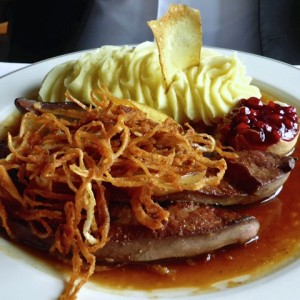 lunch of liver and mashed potatoes, Spaten, Munich, Germany