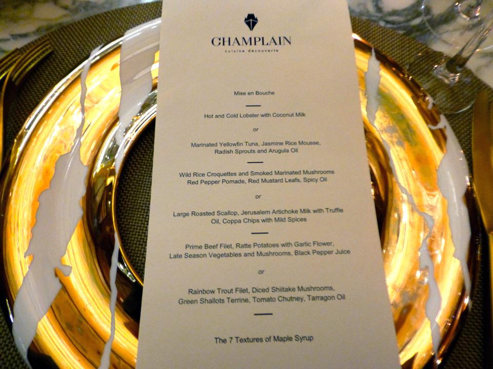 menu, Champlain dining room, The Fairmont Le Château Frontenac, Quebec City