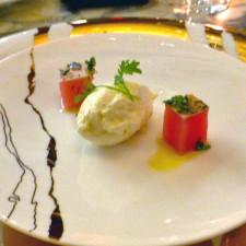mise en bouche, Champlain dining room, Château Frontenac