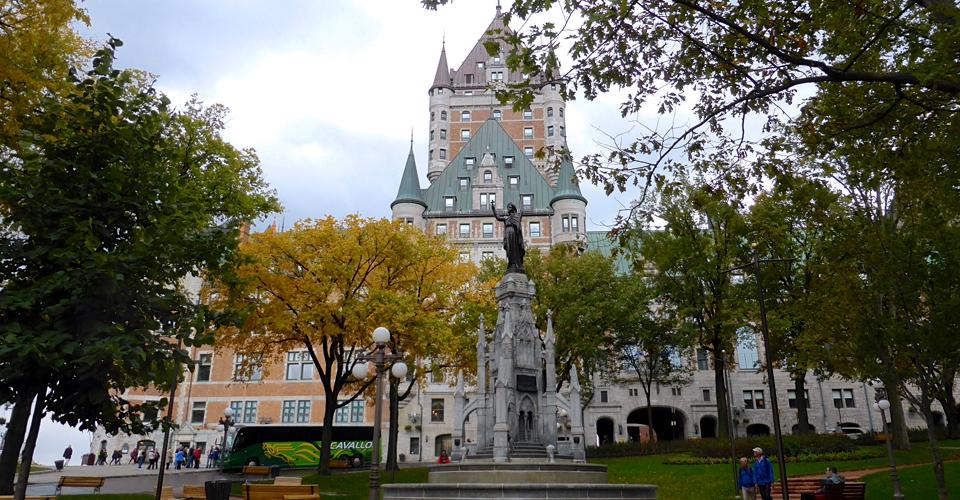 statue by the Fairmont Le Château Frontenac, Quebec City