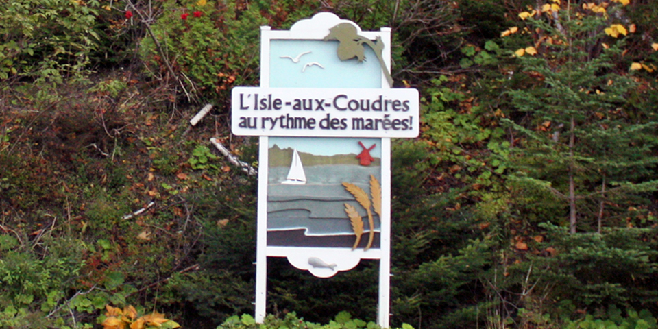 L'Isle-aux-Coudres sign, Charlevoix, Quebec, Canada