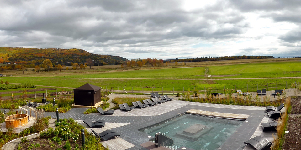 pool and grounds of La Ferme, Baie-Saint-Paul, Charlevoix, Quebec, Canada