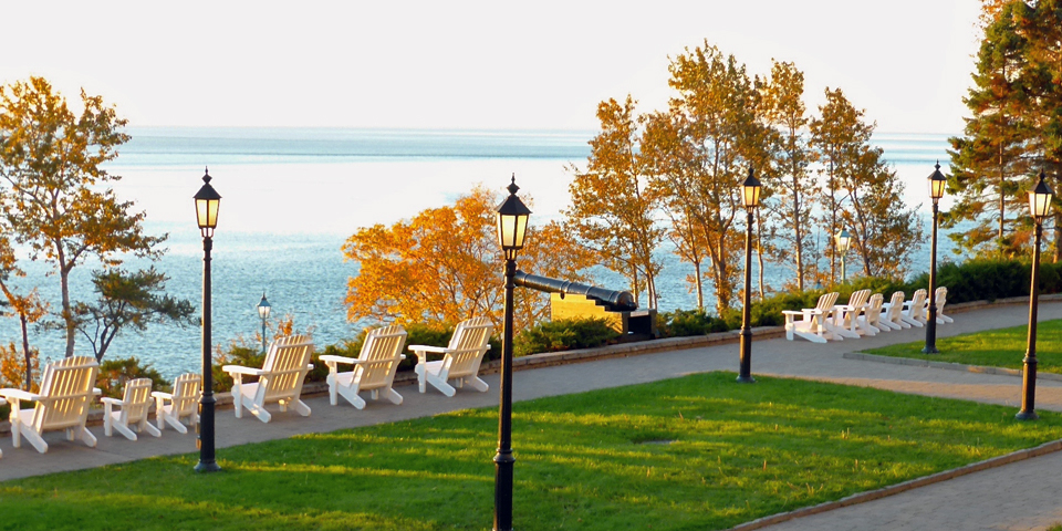 view of the St. Lawrence from the Manoir Richelieu,La Malbaie, Charlevoix, Quebec, Canada