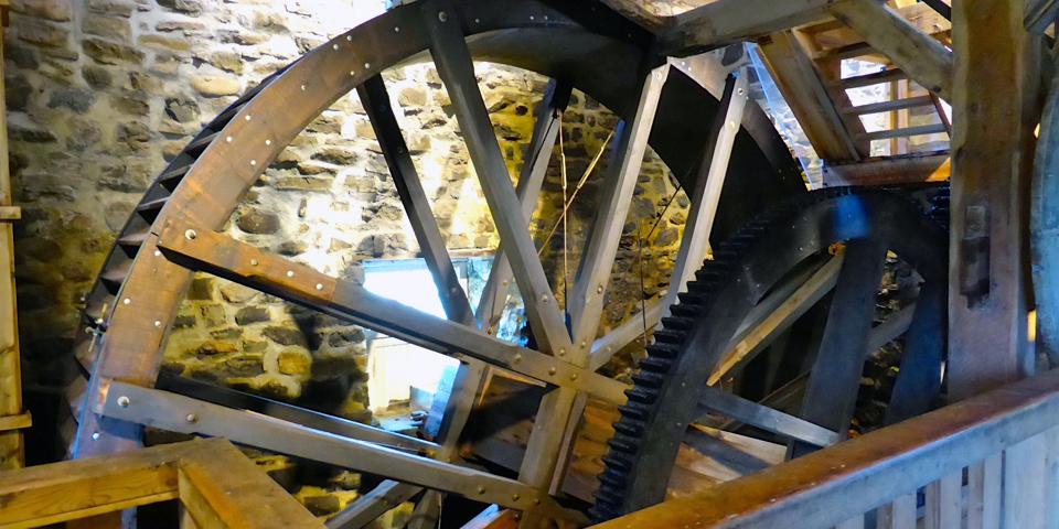Les Moulins de l'Isle-aux-Coudres mill wheel, Charlevoix, Quebec, Canada