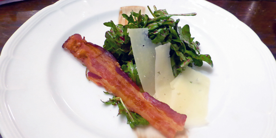 salad of regional greens, cheese, and bacon, Fairmont Le Manoir Richelieu, La Malbaie, Quebec, Canada