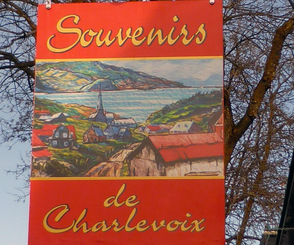 Souvenirs de Charlevoix sign, Baie Saint Paul, Charlevoix, Quebec, Canada