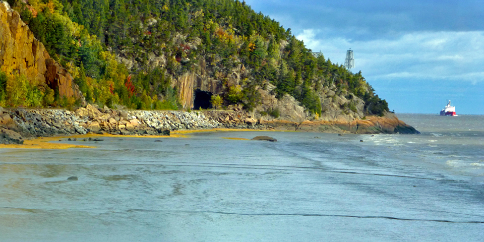 view of tunnel from Le Train de Le Massif, Charlevoix, Quebec, Canada