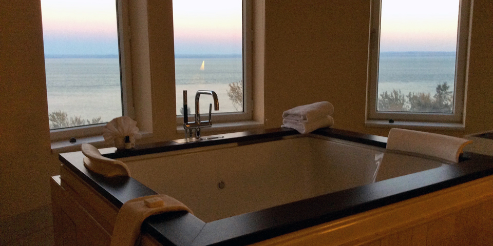 whirlpool tub in suite at Fairmont Manoir Richelieu, Charlevoix, Quebec, Canada