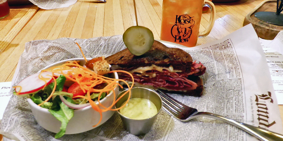 reuben sandwich and Arnold Palmer beverage, Horse & Plow, The American House, Kohler, Wisconsin