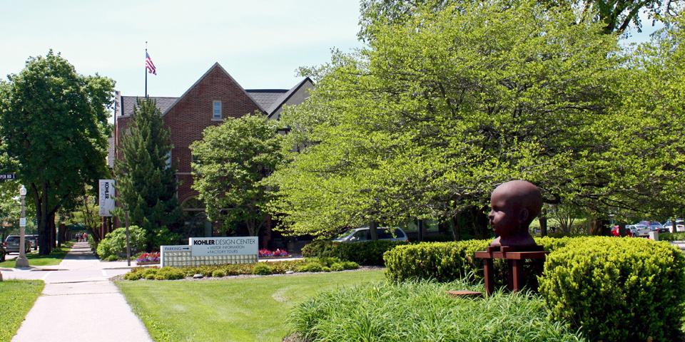 Kohler Design Center and sculpture Waiting for Titus by Michael Bishop, Kohler, Wisconsin