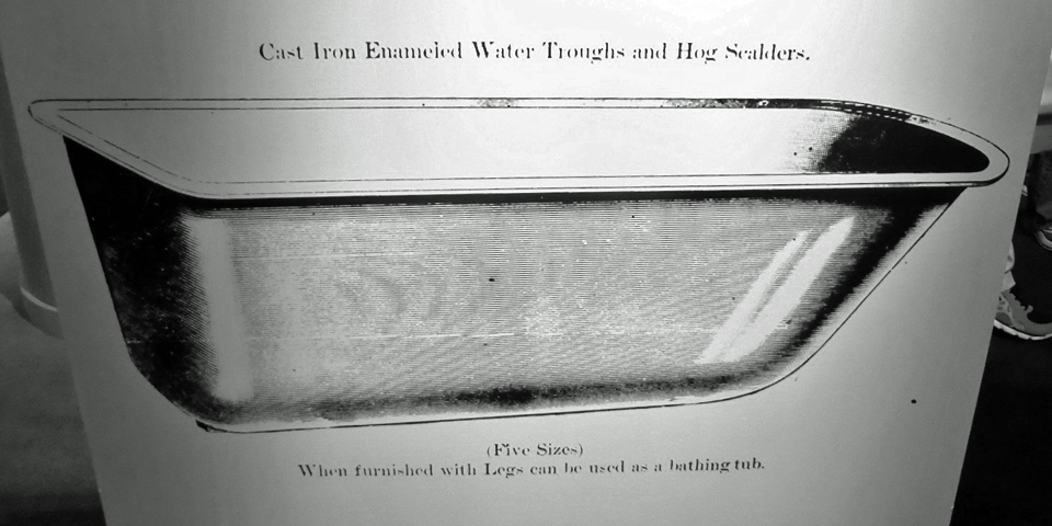 cast iron water trough or hog scalder, Kohler Design Center, Kohler, Wisconsin