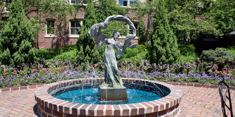 garden statuary and fountain, The American Club, Kohler, Wisconsin