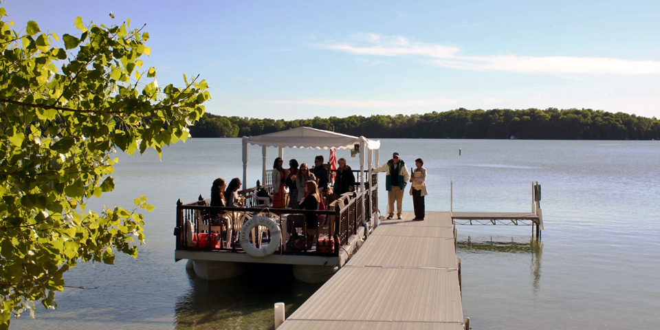 pontoon boat, Elkhart Lake, Wisconsin