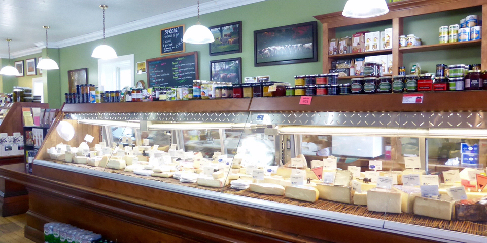 La Rumeur Affamée (the famished rumor), a destination épicerie, a specialty grocery store, with freshly-baked breads, pies, tarts, patés and specialty items, in Sutton, Eastern Townships, Quebec, Canada
