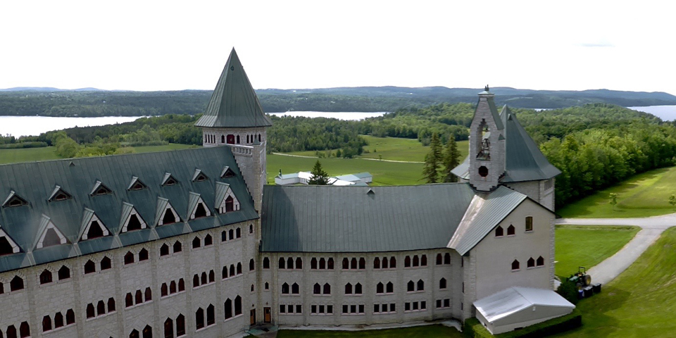 Abbaye de St-Benoît-du-Lac partial panorama, Eastern Townships, Quebec, Canada