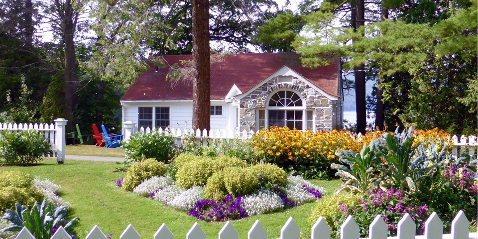 cottage and garden at the Basin Harbor Club, Vergennes, Vermont