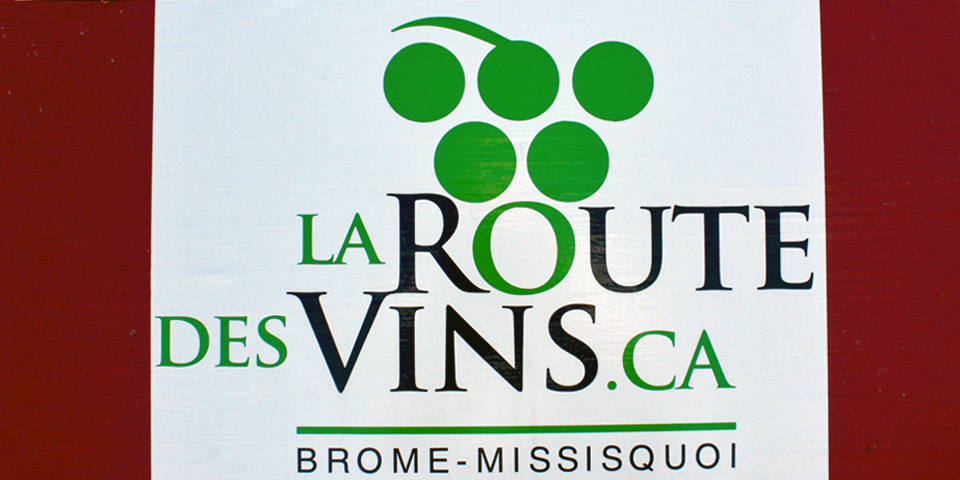 The Wine Route, La Route des Vins sign, Eastern Townships, Québec, Canada