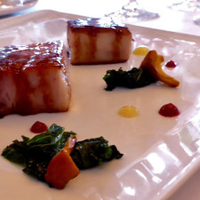 pork belly appetizer, wine cellar, Ripplecove Lakefront Hotel, Ayer's Cliff, Eastern Townships, Quebec, Canada