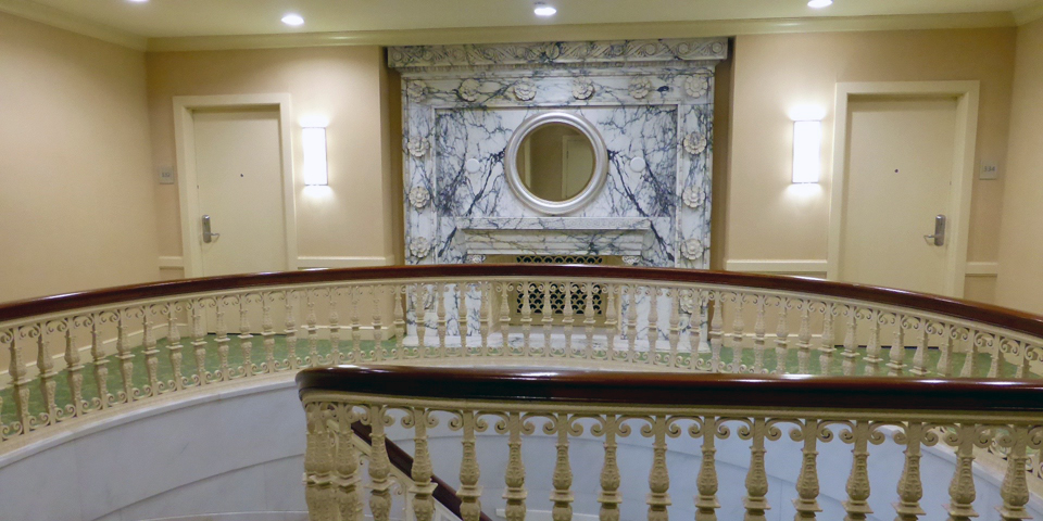 marble fireplace at the Southbridge Hotel preserved as part of the American Optical building
