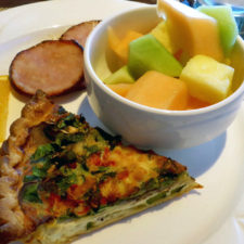 Quiche, fresh fruit and Canadian bacon at breakfast at Fresh Salt